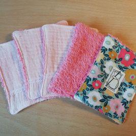 1 lot de 5 pièces - Tapis fleuri - éponge rose