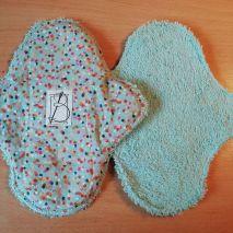 2 pièces - pois multicolore - éponge bleue