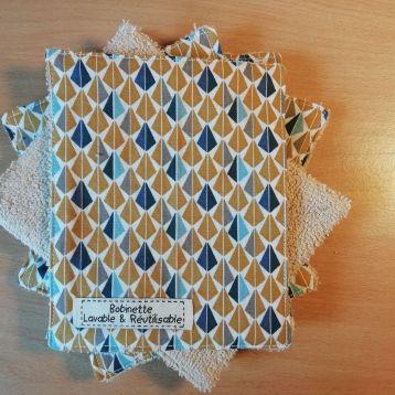 Lot de 6 - pyramides bleues - éponge beige